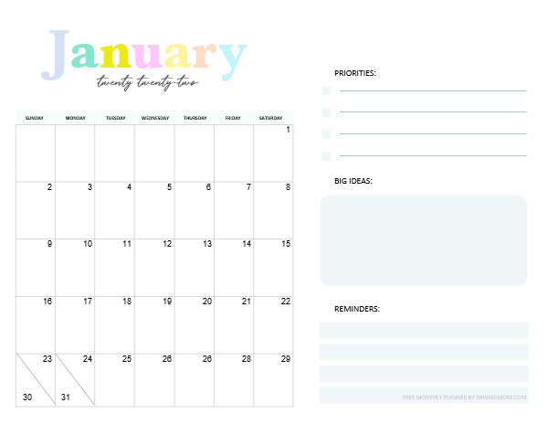 January 2022 Monthly Calendar Planner