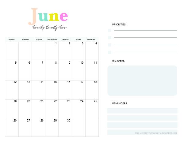 June 2022 Monthly Calendar Planner