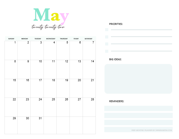 May 2022 Calendar Planner