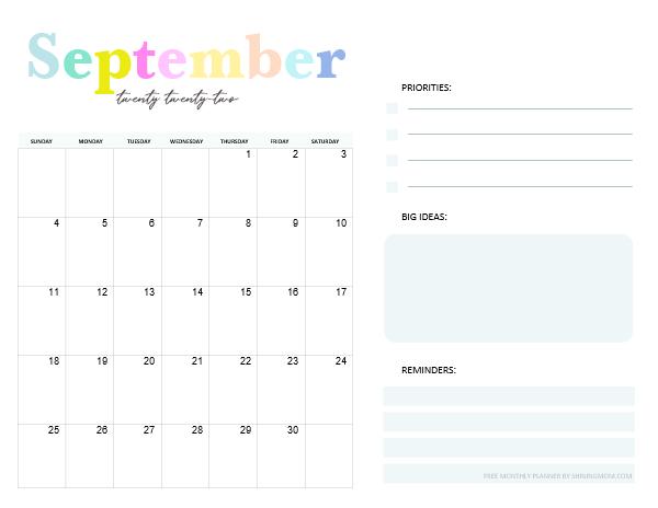 September Calendar 2022