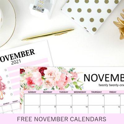 Free Printable November 2021 Calendars: 12 Awesome Designs!
